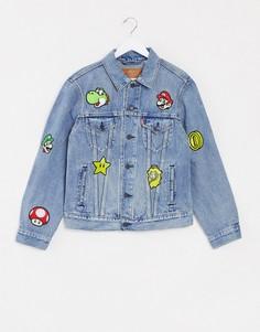 Светлая джинсовая куртка с нашивками Levis x Super Mario-Синий