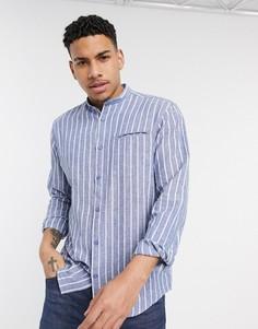 Синяя рубашка в полоску с воротником на пуговицах Esprit-Синий