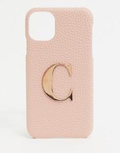 """Чехол дляiphone11/ XR с инициалом """"C""""Elie Beaumont-Розовый"""