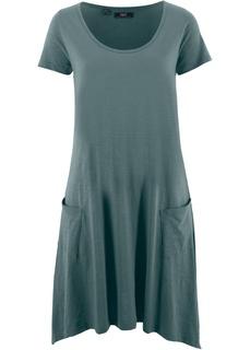Платья с коротким рукавом Платье А-силуэта из трикотажа фламе Bonprix
