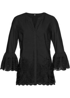 Блузки с длинным рукавом Блузка с ажурным кружевом Bonprix