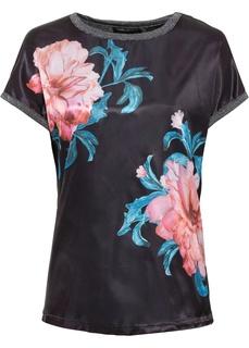 Блузки с коротким рукавом Туника с цветочным рисунком Bonprix