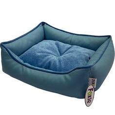 Лежак для животных Foxie Leather 70х60х23 см голубой