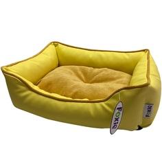 Лежак для животных Foxie Leather 70х60х23 см желтый