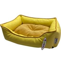 Лежак для животных Foxie Leather 60х50х18 см желтый