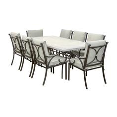 Комплект мебели Dongye : стол с мраморной столешницей и 8 стульев с подушками