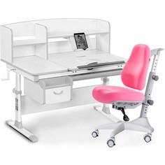 Комплект мебели (стол+полка+кресло+чехол Mealux Evo-50 G (Evo-50 G + Y-528 KP) белая столешница/ пластик серый