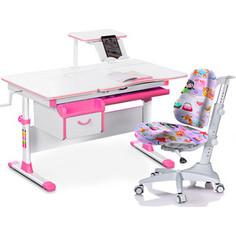 Комплект мебели (стол+полка+кресло+чехол) Mealux Evo-40 PN (Evo-40 PN + Y-528 GL) белая столешница/ пластик розовый