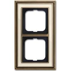 Рамка ABB 2-постовая Dynasty латунь античная/белое стекло