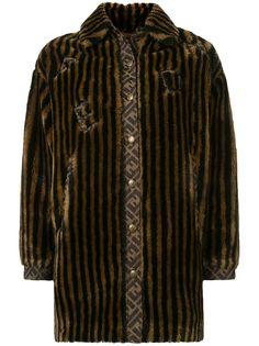 Fendi Pre-Owned шуба из искусственного меха в полоску