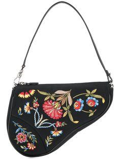 Christian Dior сумка-седло с цветочной вышивкой