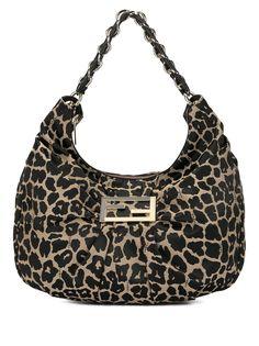 Fendi Pre-Owned маленькая сумка хобо с леопардовым принтом