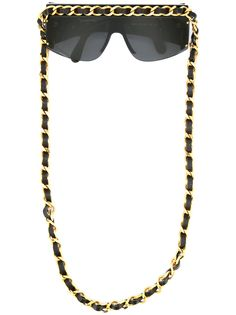 Chanel Pre-Owned солнцезащитные очки с цепочкой