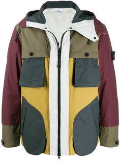 Stone Island куртка на молнии в стиле колор-блок