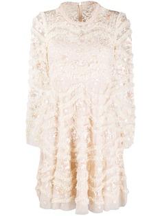 Needle & Thread кружевное платье мини с цветочной вышивкой
