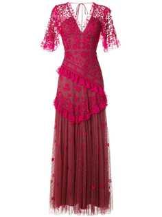 Needle & Thread платье с V-образным вырезом и оборками