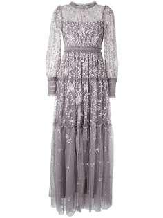 Needle & Thread платье с цветочной вышивкой и драпировкой