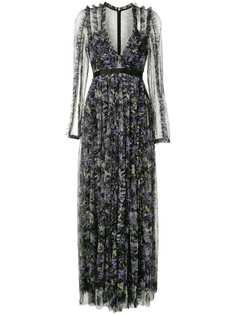 Needle & Thread платье с цветочным принтом и глубоким вырезом