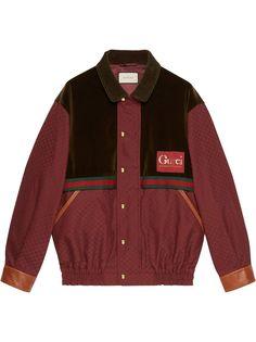 Gucci куртка с бархатной вставкой и узором GG