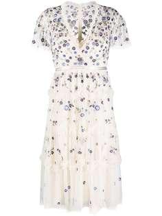 Needle & Thread платье миди с цветочной вышивкой