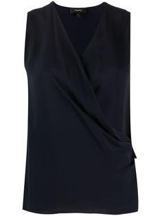 Theory блузка без рукавов с запахом