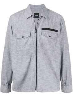 BOSS куртка-рубашка на молнии с жатым эффектом