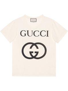 Gucci футболка с принтом логотипа в стиле оверсайз