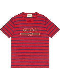 Gucci полосатая футболка с логотипом