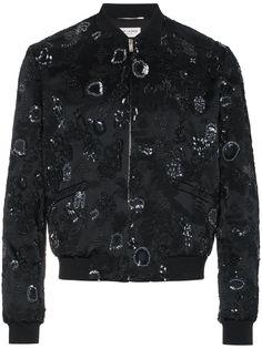 Saint Laurent куртка-бомбер с вышивкой с пайетками
