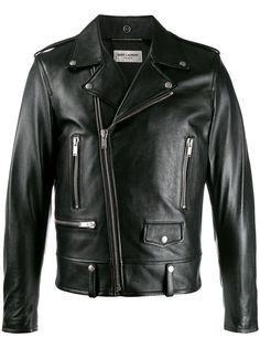 Saint Laurent байкерская куртка с надписью на спине