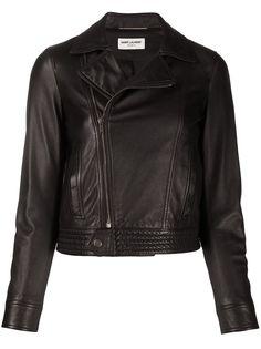 Saint Laurent байкерская куртка с косой молнией