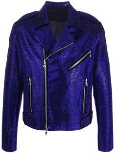 Balmain байкерская куртка со стразами