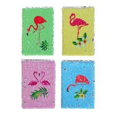 Записная книжка подарочная формат а6 80 листов линия пайетки двухцветная микс фламинго Calligrata