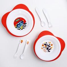 Набор детской посуды: тарелка на присоске 250мл, вилка, ложка, цвет красный уши микс Mum&Baby