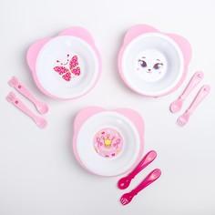 Набор детской посуды: тарелка на присоске 250мл, вилка, ложка, цвет розовый микс Mum&Baby