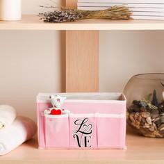 Короб для хранения love,с 3 карманами Textura