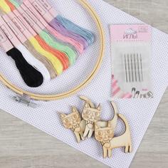 Набор для вышивания крестиком: канва без рисунка 30×20 см, нитки 10 шт, пяльцы d15 см, иглы 6 шт, шпульки 3 шт Арт Узор