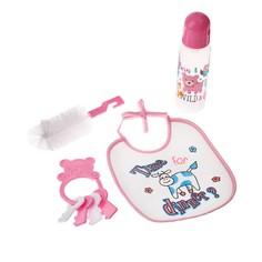 Набор детский, 4 предмета: бутылочка для кормления 250 мл, нагрудник, ёршик, погремушка, от 0 мес., цвет розовый