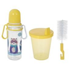 Набор детский, 3 предмета: бутылочка для кормления 250 мл, ёршик для мытья, поильник с твёрдым носиком 220 мл