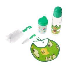 Набор детский, 5 предметов: бутылочка для кормления 250 мл, поильник с твёрдым носиком, нагрудник, ёршик 2 шт., цвета микс