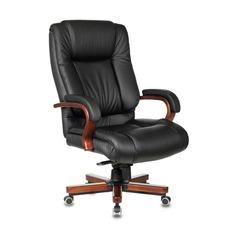 Кресло руководителя БЮРОКРАТ T-9925WALNUT, на колесиках, кожа, черный [t-9925walnut/black]