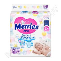 Подгузники для новорожденных merries до 5 кг, 90 шт тц-00005439
