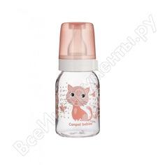 Тритановая бутылочка canpol babies bpa 0% с силиконовой соской, 120 мл. 3+ cheerful цвет: розовый, рисунок: котенок 250989488