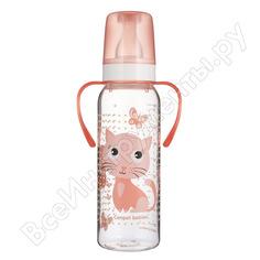Тритановая бутылочка canpol babies 250 мл. 12+,цвет: розовый, рисунок: котенок 250989461