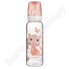 Тритановая бутылочка canpol babies 250 мл. 12+, цвет:розовый, рисунок:котенок 250989459