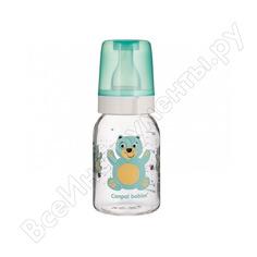 Тритановая бутылочка canpol babies bpa 0% с силиконовой соской,120 мл. 3+ cheerful цвет: бирюзовый, рисунок: мишка 250989487