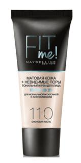 """Maybelline, Тональный крем для лица """"Fit Me"""", 30 мл (12 оттенков), 110 слоновая кость (матирующий, скрывающий поры)30 мл"""