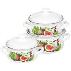 Набор эмалированной посуды Керченский металлургический завод Инжир-1 белый (кастрюля 1.5+2.3+3 л), 3 предмета
