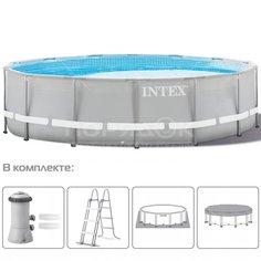 Бассейн каркасный Intex Prism Frame Е 26726GN с фильтр-насосом, лестницей, настилом и тентом, 457х122 см