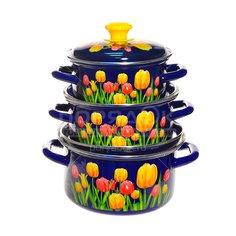 Набор эмалированной посуды Керченский металлургический завод Майский букет-1, (кастрюля 1.5+2.3+3 л), 3 предмета